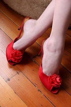 Red Slippers (Bordello Rosa, Red Satin Boudoir Slipper)
