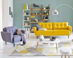 New living room decor yellow couch spaces ideas Home Living Room, Room Design, Apartment Living Room, Home Deco, Room Decor, Yellow Living Room, Interior Design Living Room, Interior Design, Living Decor