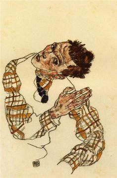 Self Portrait with Checkered Shirt Artist: Egon Schiele Completion Date: 1917 Place of Creation: Vienna, Austria Style: Expressionism Genre: self-portrait Dimensions: 45.4 x 30 cm