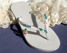 Havaianas, Flip Flops, Crochet Sandals, Wedding Flip Flops, Bridal Shoes, White Flats, Boho Wedding Shoes, Beach Sandals, Turquoise & Silver -       Edit Listing   - Etsy