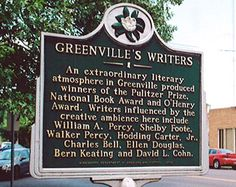 Greenville Writers Historical Marker - Part of the Southern Literary Trail - Home to Walker Percy and Shelby Foote