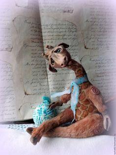 Купить Жираф.Животное доброе,домашнее. - коричневый, авторская ручная работа, игрушка в подарок