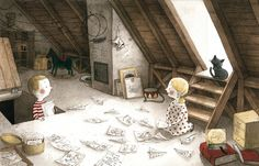 Illustration from 'Deček in Hiša / A Boy and a House' by Maja Kastelic –published by Mladinska knjiga, Slovenia
