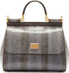 362d8d4d7fe Dolce  amp  Gabbana  Light Grey Ayers Leather Miss Sicily Bag   SSENSE  Structured Bag