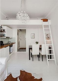 35 Tiny Apartment with Loft Space Inspirations Small Spaces, Apartment Design, Home, Bedroom Loft, Loft Bed, Tiny Loft, Loft Studio, Small Loft Spaces, Mezzanine Bed