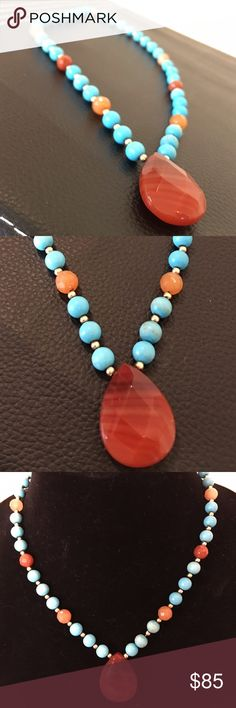"14K carnelian, turquoise beaded necklace Pretty, genuine 14K carnelian, turquoise beaded necklace weird with 14K beaded balls.  Measures 19"" and weighs 33.8 grams.  In very good to excellent preowned condition. Jewelry Necklaces"