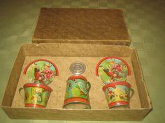 Tin Ohio Art Tea Set, Mother Goose, Early 1930's, MIB, 8 pieces #OhioArt