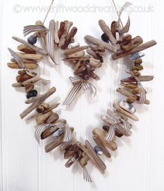 Driftwood heart - stones, ribbons, etc. - very cute ****************************************  DriftwoodDreaming #driftwood #heart #beach #decor