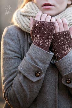 Luxury Brown beaded wrist warmers / fingerless gloves - made to order
