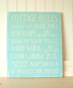 Cottage Rules aqua blue by Signs of Vintage, via Flickr