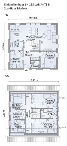 Floor plan detached house modern with pitched roof architecture – 5 rooms, 160 m², ground floor staircase open, eat-in kitchen, first floor – build house ideas floor plans prefab house SH 158 VARIANTE B by ScanHaus Marlow – HausbauDirekt. Prefabricated Houses, Prefab Homes, The Plan, How To Plan, Great Buildings And Structures, Gable Roof, Roof Architecture, Roof Structure, House Roof
