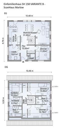 Grundriss Einfamilienhaus modern mit Satteldach Architektur - 5 Zimmer, 160 m², Erdgeschoss Treppe offen, Wohnküche, Obergeschoss - Haus bauen Ideen Grundrisse Fertighaus SH 158 VARIANTE B von ScanHaus Marlow - HausbauDirekt.de