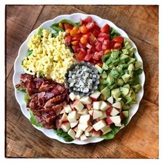 I made a big Cobb Salad for lunch (with apples instead of pears). Here's that recipe too! #lunch #dinner #salad #100daysofrealfood