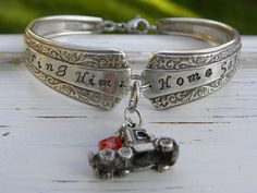 Truck driver spoon handle bracelet - bring him home safe - semi truck - Whispering Metalworks
