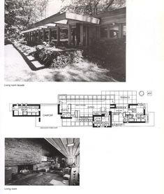Wright's Karl Staley House, Madison, OH. Frank Lloyd Wright Buildings, Frank Lloyd Wright Homes, Falling Water Frank Lloyd Wright, Usonian House, Arch House, Vintage House Plans, Architectural Prints, Contemporary House Plans, House Blueprints