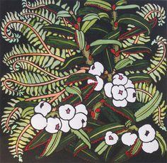 Snowberries from Lake Plimsoll by Kit Hiller - printmaker - Tasmanian artist