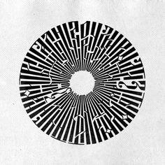 Circle Russian Vyaz lettering calligram by Angela Denninger