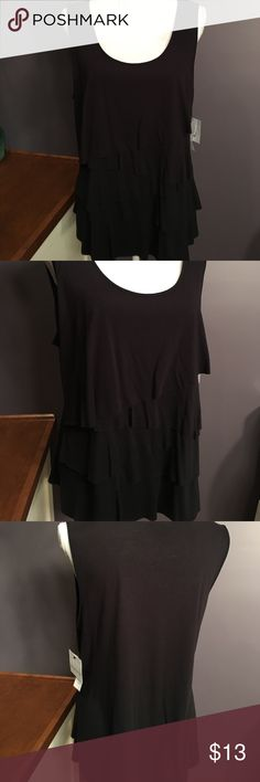 """Liz Claiborne Black Tiered Tank New XL Gorgeous NWT tank with tiered front.  Bust 40"""", length 25"""". Liz Claiborne Tops Tank Tops"""