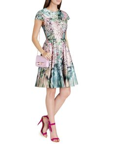Glitch floral printed dress - Peach   Dresses   Ted Baker