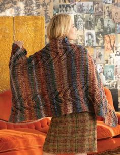 Inspiration from nature the Brioche Shawl is perfect for cosy days at home. The pattern for this brioche cable shawl is presented in chart form only. Designed by Faina Goberstein using NORO Miyabi colour 18 Autumn Theme, Autumnal, Cosy, Shawl, Knit Crochet, Cable, Crochet Patterns, Men Sweater, Colour