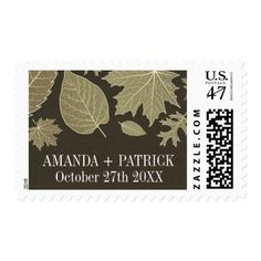 Rustic Burlap Gold Fall Leaves Wedding Stamps