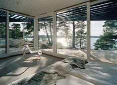 Big windows and sliding glass doors.