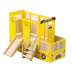 Guidecraft School Bus Play Loft Indoor Playground