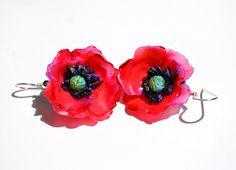 Red Poppies Flower Earrings, Statement Jewelry, Fine Art Jewelry, Summer Outfit, Romantic Style -OOAK Sterling Hook Earrings Jewelry Art, Unique Jewelry, Red Poppies, Flower Earrings, Statement Jewelry, Summer Outfit, Romantic, Fine Art, Handmade Gifts