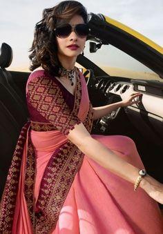 Discover thousands of images about prachi desai cherry pink silk saree 20588 Cotton Saree Blouse Designs, Fancy Blouse Designs, Bridal Blouse Designs, Designs For Dresses, Blouse For Silk Saree, Saree Dress, Silk Sarees, Stylish Blouse Design, Designer Blouse Patterns