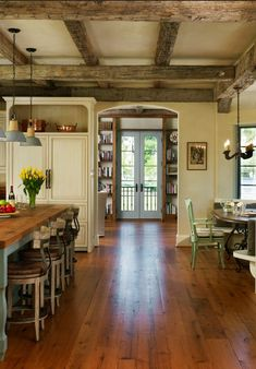 Country Kitchen with original beams and old chandelier love the wooden floor - #Country #Kitchens