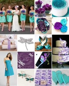 Purple And Turquoise Wedding Centerpieces | Weddings we love - Turquoise, Purple and Dragonflies