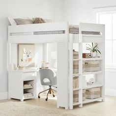 Inspired by rustic style, this timeless Costa Loft Bed is a study and sleep space rolled into one functional furniture piece! Featuring a desk, shelving for tons of storage and a moveable ladder, you can configure this piece any way you want. Girls Loft Bed, Bed For Girls Room, Bedroom Design, Loft Bed, Cute Bedroom Ideas, Small Bedroom, Room Decor, Loft Beds For Small Rooms, Room Ideas Bedroom