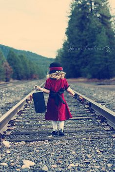 I love railroad track photos! This girl is so cute. Railroad Track Pictures, Railroad Tracks, Girl Photography, Children Photography, Little Girl Pictures, Affinity Photo, Precious Children, Little Girl Dresses, Little People