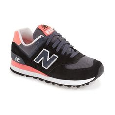 Women's New Balance '574' Sneaker ($75) ❤ liked on Polyvore featuring shoes, sneakers, new balance trainers, new balance sneakers, new balance, retro shoes and retro sneakers