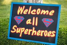 Cute yard sign DIY superman but I would change it to have the Batman logo Superman Birthday Party, Girl Superhero Party, Avengers Birthday, Batman Party, 6th Birthday Parties, 4th Birthday, Birthday Ideas, Adoption Party, Nouvel An