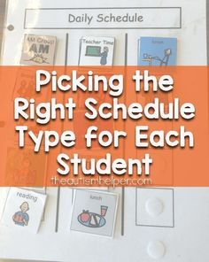 Picking the Right Schedule Type for Each Student - The Autism Helper Life Skills Classroom, Classroom Hacks, Autism Classroom, New Classroom, Classroom Activities, Classroom Setup, Educational Activities, Visual Schedule Autism, Visual Schedules