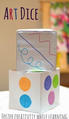 Art Dice - such a fun way for kids to create! With each roll of the dice kids… Kindergarten Art, Preschool Art, Middle School Art, Art School, High School, Art For Kids, Crafts For Kids, Art Cube, Ecole Art