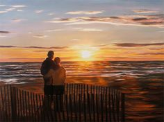 Custom Painting  Personalized Sunset Portrait on Canvas from