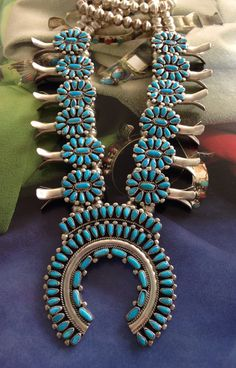 Victor Moses Begay Vintage Navajo Cluster Turquoise Squash Blossom Necklace by iCollectSouthwest, $997.00