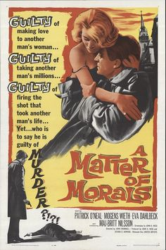"""A Matter of Morals 1961 Authentic 27"""" x 41"""" Original Movie Poster Very Fine Patrick O'Neal Drama U.S. One Sheet"""