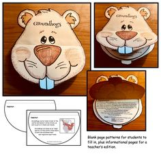"""Super-cute """"flip the face"""" for interesting groundhog facts booklet craftivity."""