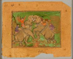 Style: Mughal; Type: Elephants, birds, and flowers; Title: 'Elephants fighting', north India, c. 1600
