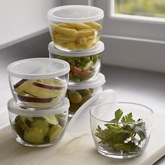 Set of 12 Storage Bowls With Clear Lids   Crate and Barrel