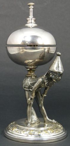ANTIQUE EUROPEAN SILVERPLATE PIERROT TABLE BELL  Enchanting antique European silver plate figural clown table bell. Depicts pierrot bending over with the bell balancing on it's back. When the button is pushed, his head kicks back to tap the bell.