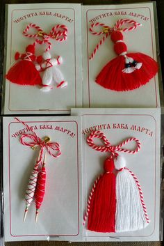 Set 4 different martenici Bulgarian folklore by RoseCosmeticsnet Yarn Crafts, Diy And Crafts, Baba Marta, 8 Martie, Beginning Of Spring, Funny Cross Stitch Patterns, Mandala Artwork, Christmas Tree Crafts, Embroidery Designs