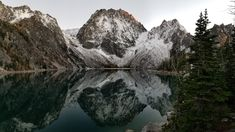 In the late evening light in the Alpine Lakes Wilderness of Washington State: Lake Colchuck reflects the Mountain of its own namesake. (10/24/17)