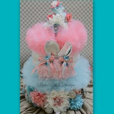 Tutu Diaper Cake 120 Piece Heirloom Gift by RachelsKidsBoutique