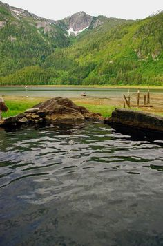 The view of Eucott Bay, British Columbia from the natural hot spring pool.