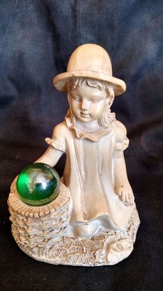 Old Country Figurine Gift Collection Girl with Basket
