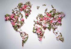 terre,planète,monde,tour du monde,partir en tour du monde,faire un tour du monde,fleurs,monde art,monde fleurs,carte du monde,mappemonde